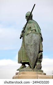 Statue of King Dom Afonso Henriques by the Sacred Hill in the city of Guimaraes. The first king of Portugal in the 12th century