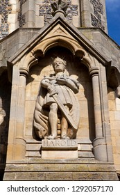 A statue of king Harold on the exterior of Waltham Abbey Church in Waltham Abbey, Essex. King Harold II died at the Battle of Hastings in 1066 and is said to be buried in the churchyard.