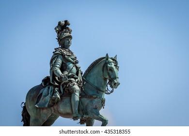 statue of King Jose on the Commerce square (Praca do Comercio) in Lisbon, Portugal