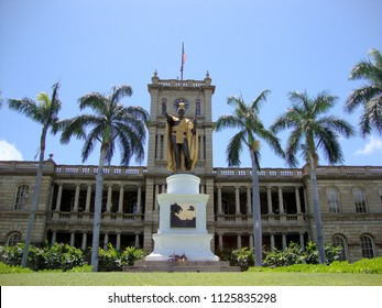 Statue of King Kamehameha in downtown Honolulu, Hawaii.  statue stands prominently in front of AliÊ»iolani Hale in Honolulu, Hawaii. The statue had its origins in 1878.
