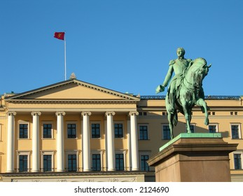 Statue of King Karl Johan outside The Royal palace in Oslo.