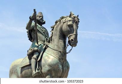 Statue of king Philip III on Plaza Major in Madrid; capital of Spain; Europe