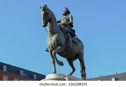 Statue of King Philip III in Plaza Mayor, Madrid, Spain