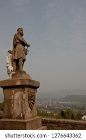 The statue of King Robert I (also known as Robert The Bruce), who secured Scotland's independence from England. In the background National Wallace Monument commemorates Sir William Wallace.
