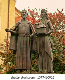 Statue of King Stephen and Queen Gizella in Visegrád, Hungary.