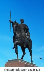 Statue of the king Tomislav riding a horse,placed in front of the main railway station in Zagreb, Croatia