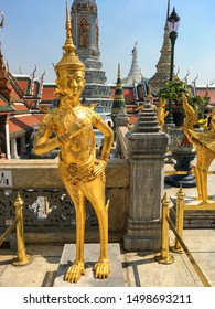 Statue of a Kinnara in Wat Phra Kaew in Bangkok, Thailand. In Southeast Asian mythology, Kinnaris are depicted as half-bird, half-woman creatures