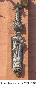 Statue of the knight on the facade of the historic town hall. Wroclaw. Poland