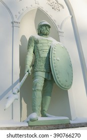 Statue of the knight under snow in White Tower pavilion in Pushkin town near St.Petersburg, Russia