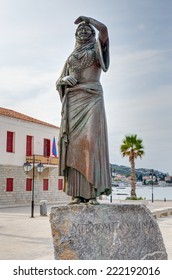 The statue of Laskarina Bouboulina heroine of the Greek war of independence in Spetses island, Greece