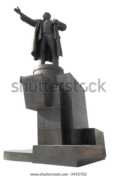 Statue of Lenin pointing the wat outside the railway station in St Petersburg Russia