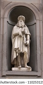 A statue of Leonardo da Vinci sitting outside of the Uffizi, in Florence, Italy.  Leonardo was an polymath during the Italian Renaissance.  The definition of a Renaissance man.