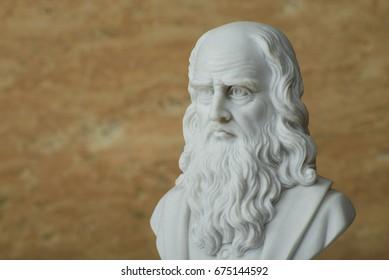 Statue of Leonardo Da Vinci,ancient Italian creative artist.