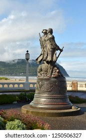 Statue of Lewis & Clark at End of Trail , beach community Seaside, Oregon