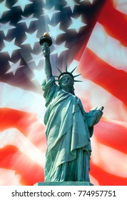 The Statue of Liberty and the American Flag - Patriotic Symbols.