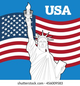 Statue of Liberty and American flag. Symbol of freedom and democracy. Monument of architecture in New York. Patriotic illustration for Independence Day. National Landmark USA