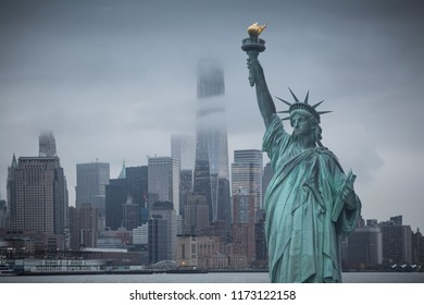 Statue of Liberty in the background of skyscrapers in Manhattan. New York, USA