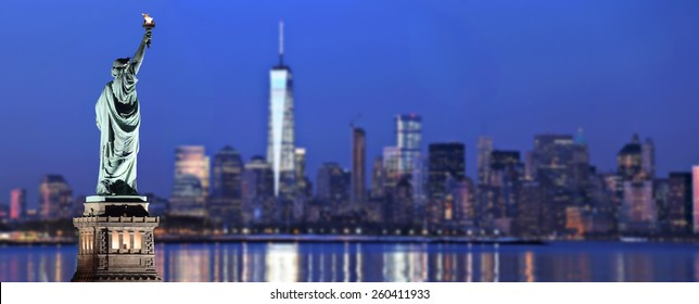 Statue of Liberty with blurred New York City background