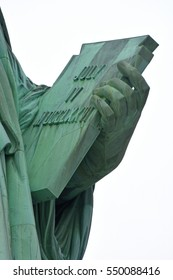 Statue of Liberty -- close view of tablet in left hand