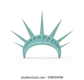 Statue of Liberty Crown, 3d rendered on white background