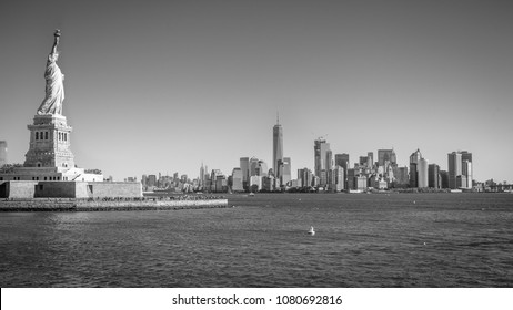 Statue of Liberty and Downtown skyline, New York City, USA