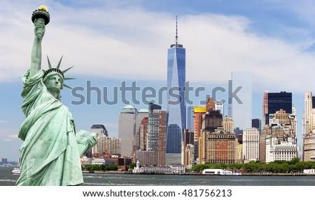 Statue Liberty Freedom Tower Manhattan New Stockfoto Jetzt