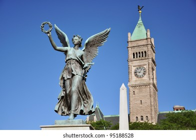 Statue of Liberty in front of City Hall in Lowell National Historic District, Massachusetts, USA