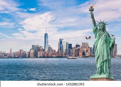 Statue of Liberty in front of the Manhattan skyline, with seagulls and boats, in New York,USA