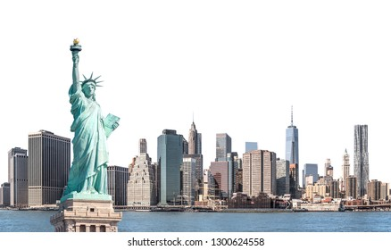 The Statue of Liberty with high-rise building in Lower Manhattan, New York City, isolated with clipping path