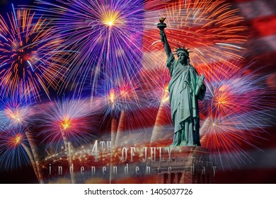 Statue of Liberty with Independence day 4th july text over the Multicolor Fireworks Celebrate with the United state of America USA flag background