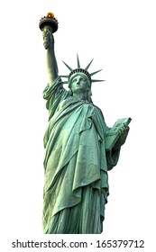 Statue of Liberty isolated on white, USA