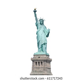 Statue of Liberty isolated on white clipping path insidein New York City, USA