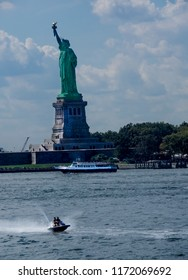 Statue of Liberty and Jet Skiier