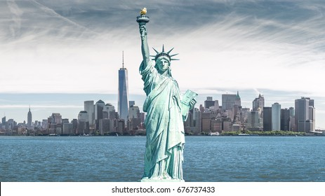 The statue of Liberty, Landmarks of New York City with Manhattan background