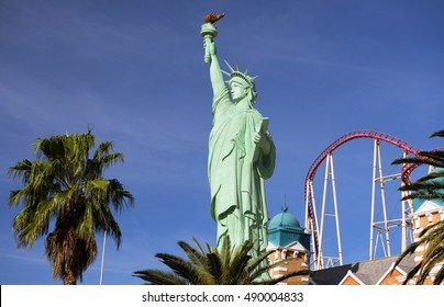STATUE OF LIBERTY, LAS VEGAS - MARCH 23, 2016: Replica of the sStatue. The statue itself is 9 feet tall and 15 feet including the pedestal, stands by New York Hotel & Casino by the Strip. Nevada, USA.