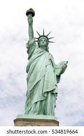 Statue of Liberty with light blue sky, New York, USA