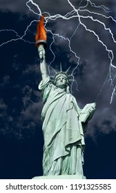 Statue of Liberty in a lightning storm.