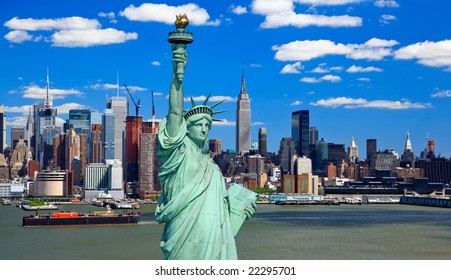 The Statue of Liberty and Manhattan Midtown Skyline USA