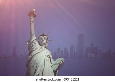 Statue of liberty at Manhattan , New york city with sunlight