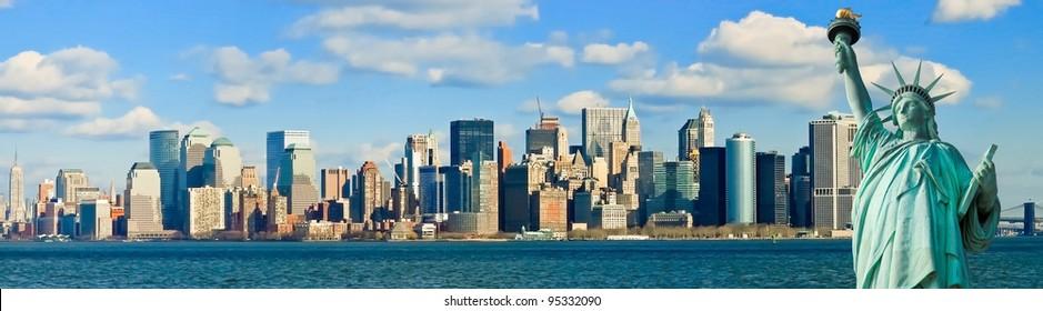 The Statue of Liberty and Manhattan New York City Skyline panorama