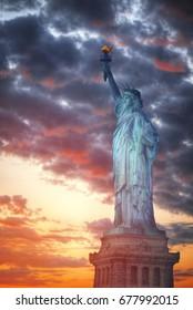 Statue of Liberty Neoclassical sculpture on Liberty Island southwest of Manhattan Island, USA