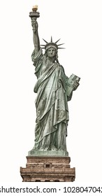 Statue of Liberty in New York City, Isolated on white background