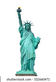 The Statue of Liberty in New York City isolated on white background