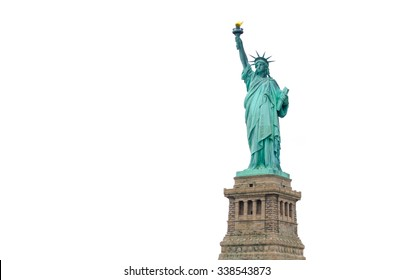 Statue of Liberty in New York City isolated on white background