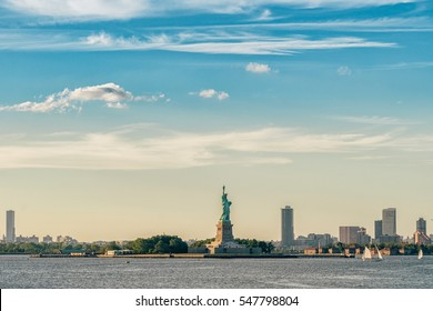 Statue of Liberty, New York City , USA. Vivid  splittoned picture.