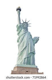 Statue of Liberty in New York City isolated on white.