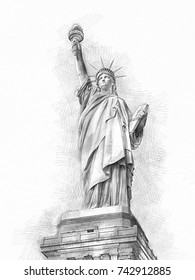 The Statue of Liberty at New York City Sketch