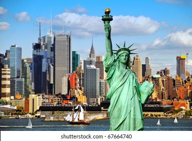 statue of liberty new york skyline city. new york city old large sailing ship in hudson river nyc.