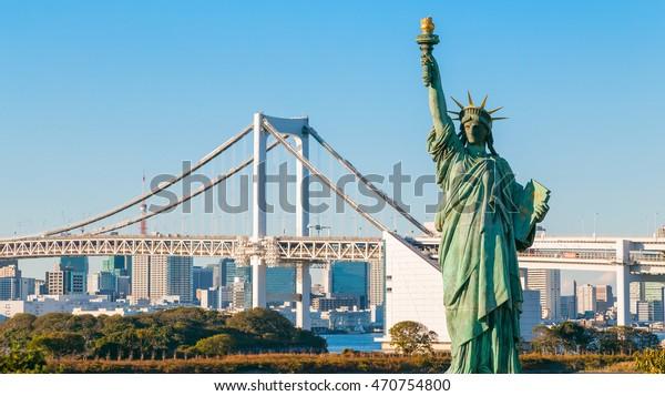 Statue of Liberty in Odaiba area, Tokyo, Japan