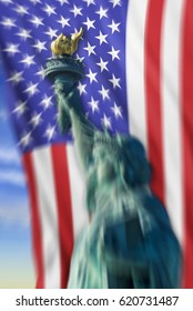Statue of liberty with old glory blurred focus for cool background.
